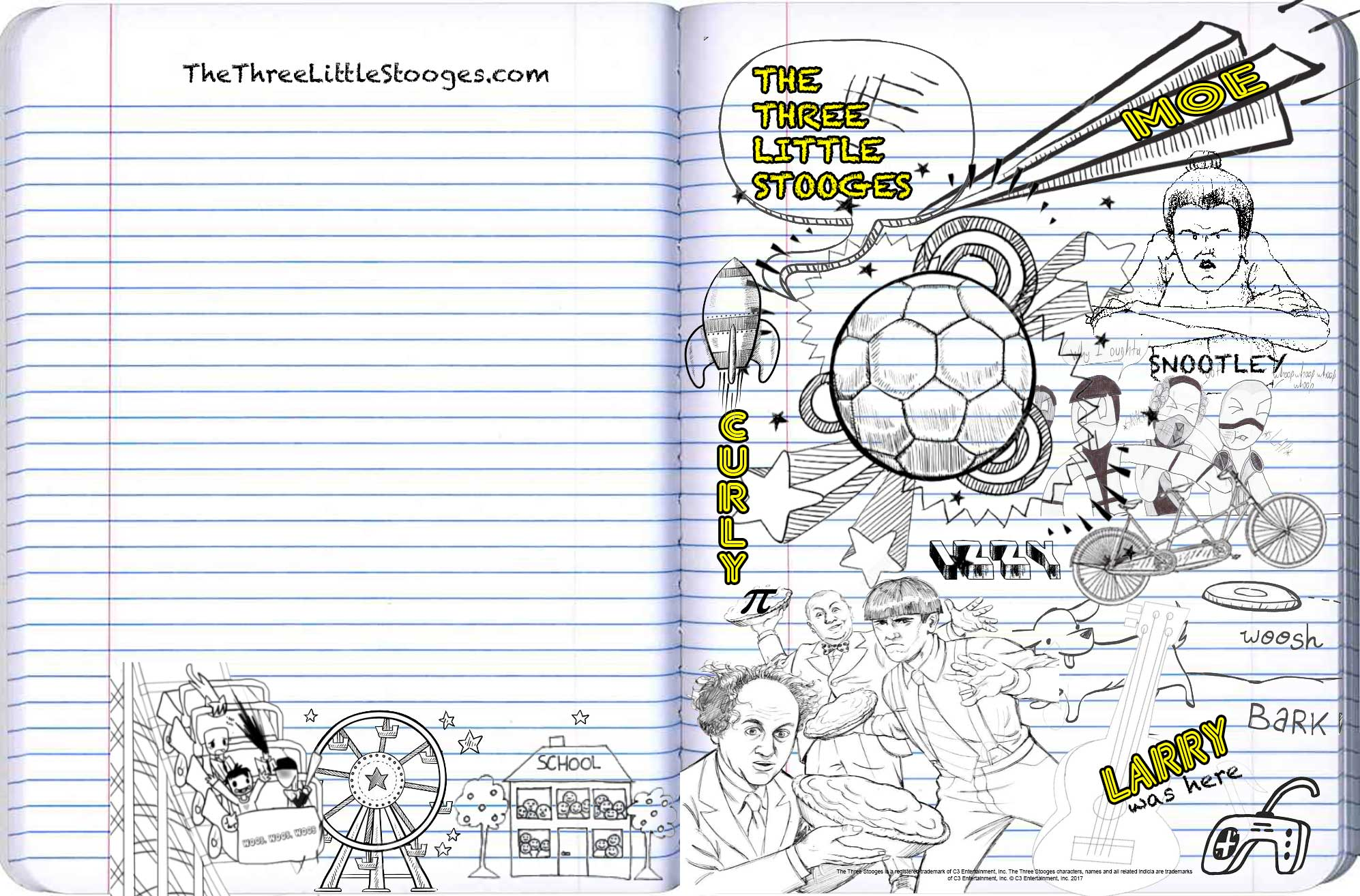 The three little stooges activity page the three little for The three stooges coloring pages
